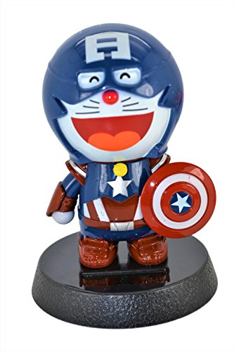 Doraemon Captain America 4 5 Inch Solar Powered Bobble Head Action Relaxation Toy For Car Home Office Limited Edition