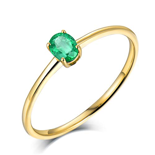 Lanmi 18k Yellow White Rose Gold Genuine Emerald Sapphire Ruby Solitaire Engagement Ring