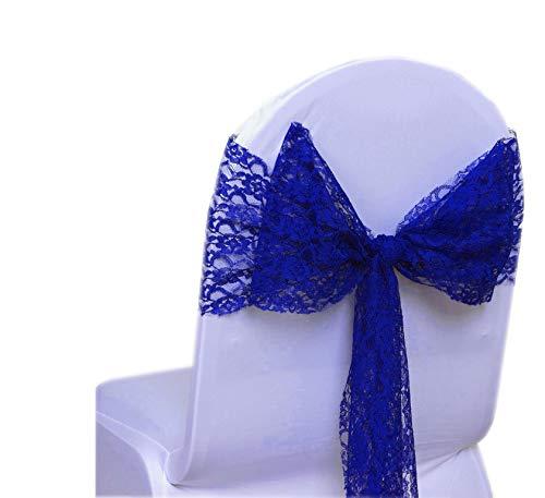 MDSパック125レースの弓レース椅子サッシ/ bowsサッシの結婚やイベント行事に飾りパーティー用品レース椅子サッシ 125 ブルー 125_lace sash bow_ royal blue  ロイヤルブルー B01NGYHAC5