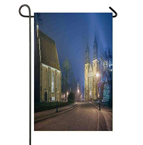 Cathedral Island - Gothic Medieval Middle Age Churches Cathedral Island with Garden Flag Double Sided, Home Decorative House Yard Flag,Seasonal Outdoor Flag 12 x 18