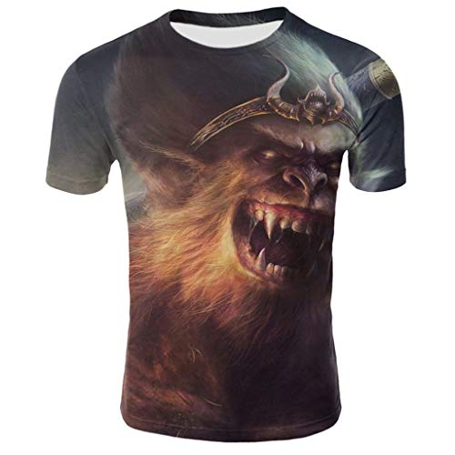 (GDJGTA Tops for Mens Summer Funny 3D Printed Short Sleeves Fashion Comfort Blouse Top Gray)
