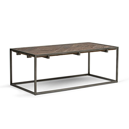 Simpli Home AXCAVY-01 Avery Solid Aged Elm Wood and Metal 48 inch Wide Rectangle Modern Industrial Coffee Table in Distressed Java Brown Wood Inlay (Reclaimed Tops Table)