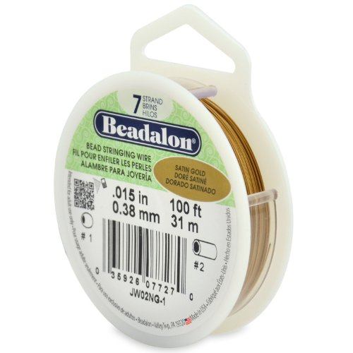 Beadalon 7-Strand Stainless Steel 0.015-Inch Bead Stringing Wire, 100-Feet, Satin Gold ()