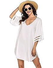 Ekouaer Women's Swim Cover Ups for Beach Swimwear, Summer Casual Loose Sun Dress