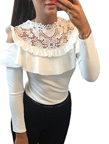 Bustier Blouse Tops Haut Chemisier Moderne Manches Pull Dentelle Shirts Rond Slim Volants Femme Sexy Longues Shirt Blanc pissure T Col EEqrF1w