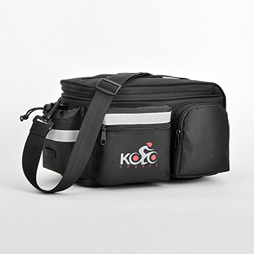 Kolo Sports Bike Pannier Bag | Durable & Waterproof Nylon With Extra Padded Foam Bottom & 3 Side Reflectors | Shoulder Strap Rack Rear Trunk Tote Bag | Strong Velcro, Zipper Pockets & Bottle Case by Kolo Sports (Image #6)