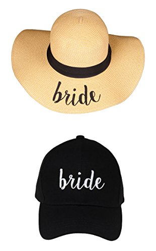 H-1718-B-06 Sun Hat Baseball Cap Bridal Bundle - Bride - Black