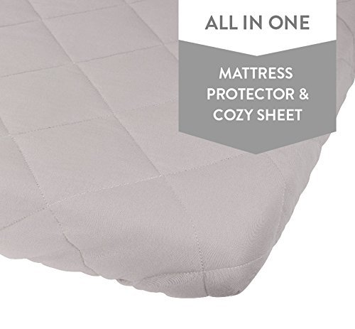 Waterproof Cotton Quilted Pack n Play Sheet | Mini Crib Sheet | All in one Mattress Pad Cover and Cozy Sheet , Grey by Ely's & Co (N/a Mattress Pads)
