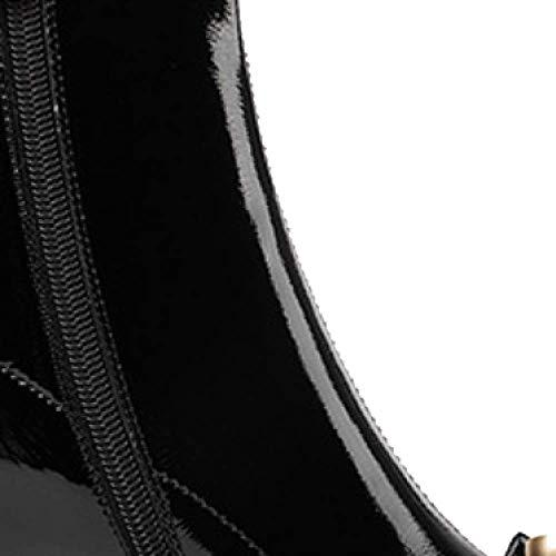 Éclair Cuir Bottillons Fermeture Tête Ronde Black Mode Zqzq Portable Cpnvx4