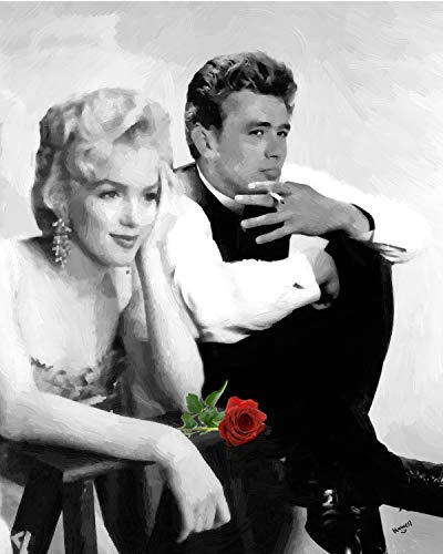 - 3D Wall Art 11 x 14 On Metal Marilyn Monroe James Dean with Rose
