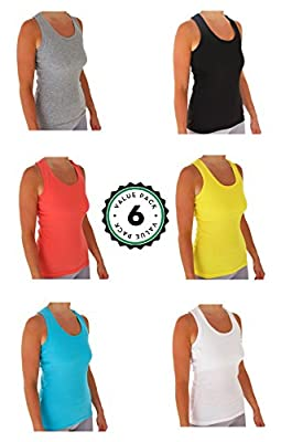 Womens Tank Tops, Basic Cotton Camisole Ribbed Racerback Tank Top Assorted Colors (6 Pack)