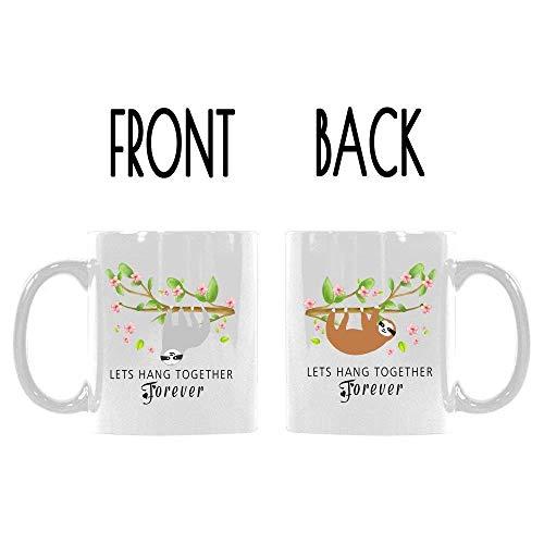 Double-Side Printed Cute Sloth Floral Mug LETS HANG