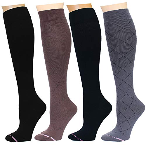 4 Pairs Dr. Motion Therapeutic Graduated Compression Women's Knee-hi Socks ()