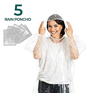 Disposable Rain Poncho Plastic Waterproof - With Drawstring Hood And Elastic Sleeve - Adults Rain Ponchos 50% Thicker 5 PACK - Water Poncho for Men Women Child or Kids
