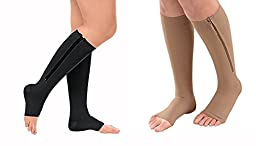 Zippered Compression Socks With Open Toe - Best Leg Support Stocking (XXL, Beige)