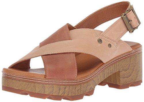 Caterpillar Women's Lia Adjustable Back Strap Leather CRIS Cross Sandal Heeled, Almond/Patina, 9.5 Medium US (Cris Straps Cross)