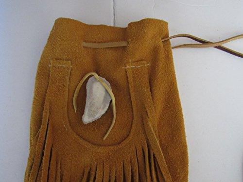 X-Large Possibles Half Moon Drawstring Leather Bag w/ Moose Antler Rendezvous Mountain Medicine Man 3