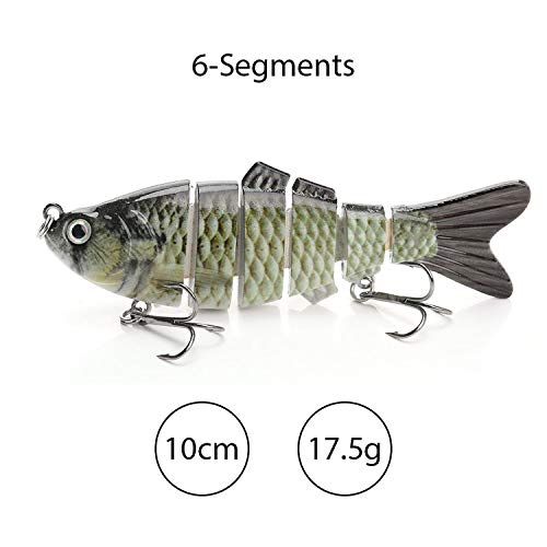 Get-in Sinking Wobblers Fishing Lures 10Cm 17.5G 6 Multi Jointed Swimbait Hard Artificial Bait Pike/Bass Fishing Lure Crankbait,6-Segments A3 (Spin N-glo Bodies)