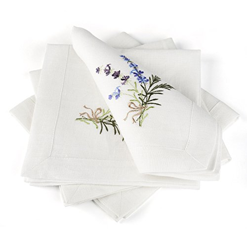 Linen Cloth Table Napkins Lavender with Embroidery - Soft and Durable - Set of 4, 16