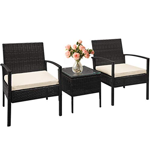 FDW Outdoor Wicker Patio Furniture Sets 3 Pieces Patio Set Bistro Set Rattan Chair Conversation Sets with Table Garden Porch Furniture Sets for Yard and Bistro,Black
