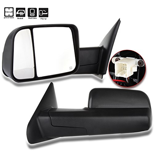 SCITOO Towing Mirrors Dodge Ram Exterior Accessories Mirrors 02-08 Ram 1500 03-09 Dodge Ram 2500 3500 Blind spot mirror Telescoping Features (02-08 power heated mirrors