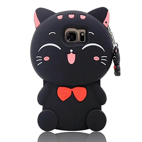 Galaxy Note 5 Cartoon Silicone Case,Cute 3D Kitty Lucky Fortune Cat Design Phone Bag Soft Rubber Cover for Samsung Galaxy Note 5 N9200
