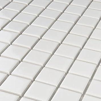 Mosaikfliesen weiß  Keramik Mosaik Fliesen Weiss Glänzend 25x25x4mm: Amazon.de: Baumarkt