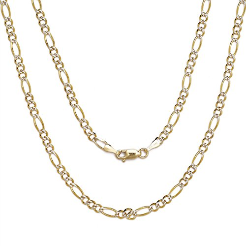 Tone Gold Pave Figaro Necklace (16 Inch 10k Two-Tone Gold Figaro Chain Necklace with White Pave for Men and Women, 0.1 Inch (2.5mm))