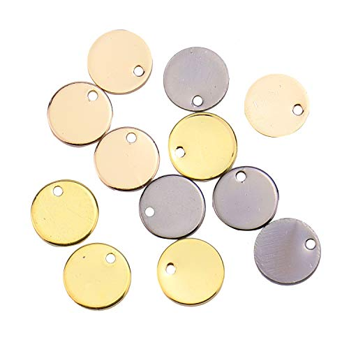 Monrocco 12pcs Brass Metal Stamping Blanks Tag Square Metal Jewelry Making Supply Blank Initial Charm DIY Holiday Gift