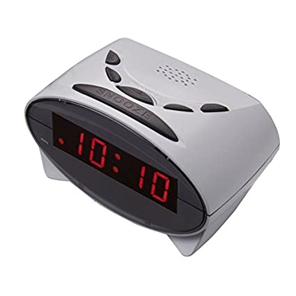 Reloj despertador digital con pantalla LCD y grandes dígitos y números rojos