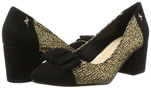 Negro schwarz Tacón Zapatos Lucida gold Mujer Menbur Para De qaScYw