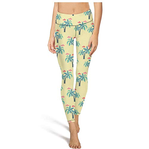(Mackiintion Women's Palm Trees and Clouds Yoga Pants Sports Workout Leggings Tight Pants)