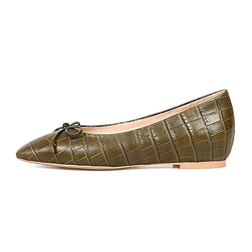 de Army Cuero Mujer de Pisos Green Redonda de Cabeza Superficial Boca Sandalias Zapatos QXH Apgzff