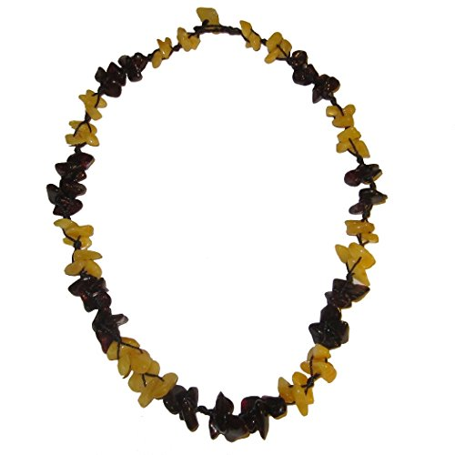 Amber Necklace 13 Red Yellow Wreathed Crystal Memory Intellect Stone Genuine Baltic, Choker 18
