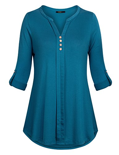 (Vafoly Henley Shirts for Women,Womens Casual Shirt Split V Neck Tunic Tops 3/4 Sleeve Cute Tunic Shirts Formal Office Work Blouses Pleated Blouses for Women Fashion 2018 Darkcyan L)