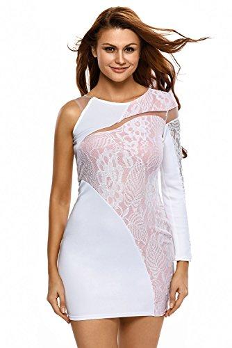 Weiß amp; Pink Asymmetrische One Shoulder Spitze figurbetontes Kleid ...