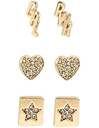 BCBG Generation Women's Gold Girl Power Affirmation Stud Earrings Set, Crystal, One Size