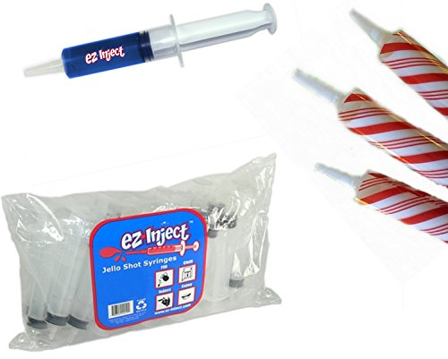 200 EZ Squeeze Christmas Jello Syringe Injectors with Candy Cane (Halloween Drinks Tipsy Bartender)