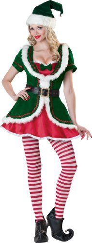 Holiday Elf Adult Costumes (InCharacter Costumes Women's Holiday Honey Elf Costume, Green/Red, Medium)
