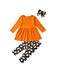 WOCACHI Halloween Toddler Kid Girls Tops Pants Headband Scarf Outfits 3PCS Sets