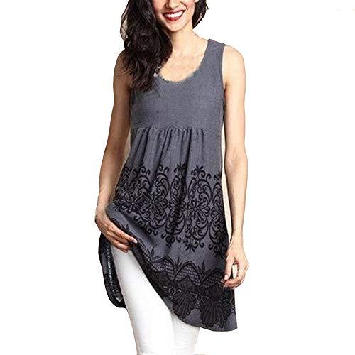 Womens Shirts Sleeveless Loose Vintage Print Dresses Casual Short Dress Swing T-Shirt Loose Dress Chaofanjiancai Gray