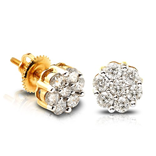 LoveBling 10K Yellow Gold 0.20 Carats (ctw) Diamond Flower Cluster Earrings 0.18