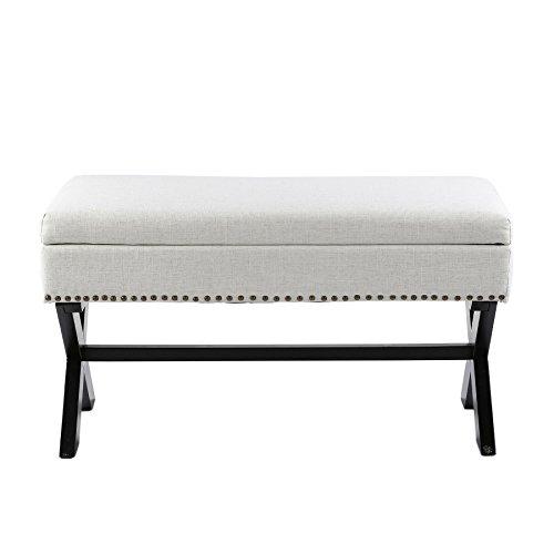 CO-Z Antique Drexler Storage Bench Ottoman Natural Linen Fabric with X-shape Leg & Brass Nailhead (White) For Sale