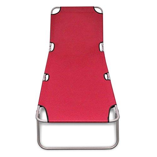 Daonanba Outdoor Sun Lounger Comfortable Chaise Lounger Durable Chaise Chair Foldable with Adjustable Backrest Red by Daonanba