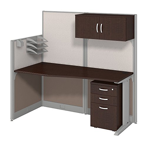Bush Business Furniture Office in an Hour 65W x 33D Cubicle Workstation with Storage in Mocha Cherry by Bush Business Furniture
