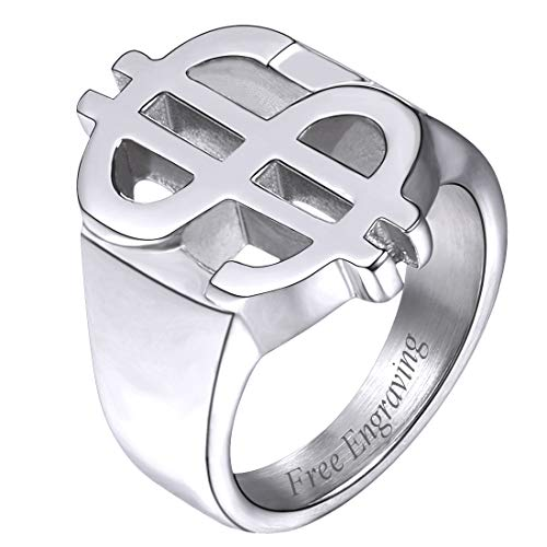 U7 Men's Stainless Steel/18K Gold Plated Hip-hop Dollar Sign Ring (Stainless-Steel (Custom Engrave), 9)