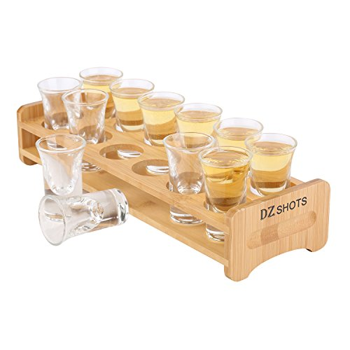 D&Z Shot Glass Set with Tray,include 12 Thick Base Crystal Clear Shot Glasses and Bamboo Holder for Barware, Shot Glass Display, Whisky Brandy Vodka Rum and Tequila Shot (Shot Glass Tray)