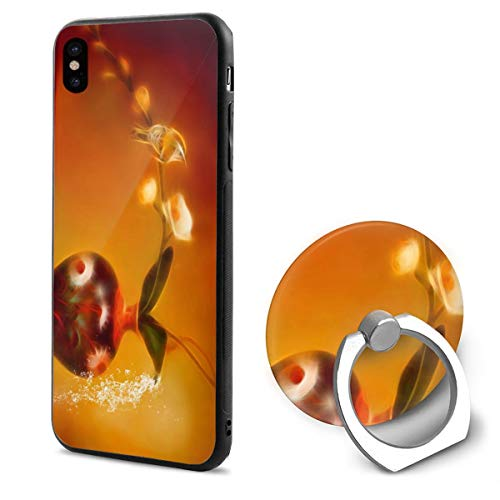 Apple iPhone Xs Case/iPhone X Case + Finger Ring Stand Holder 360 Degree Rotating Combo Set - Flower Vase Bird