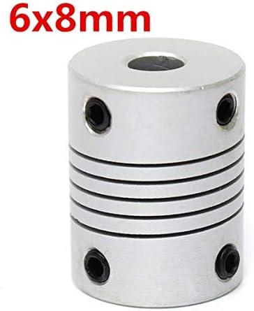 DaFFeng 6Mm X 8Mm Couplage DAxe Flexible En Aluminium Od19Mm X L25Mm Connecteur De Coupleur De Moteur Pas /¨/¤ Pas Cnc