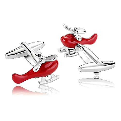 AnaZoz Jewelry Stainless Steel Mens 1 Pair Cufflinks Helicopters Pilot Rescue Red Men's Cuff Links
